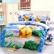 100% cotton Pokemon cartoon 3d bedding sets Christmas Gift kids pikachu duvet cover set ,bedsheet Pillowcase 4pcs bed sets twin
