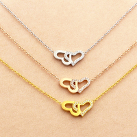 Fashion Jewelry Elegant Lady Hollow Two Heart Love Pendant Clavicle Necklace Shiny Crystal Low Price Wholesale