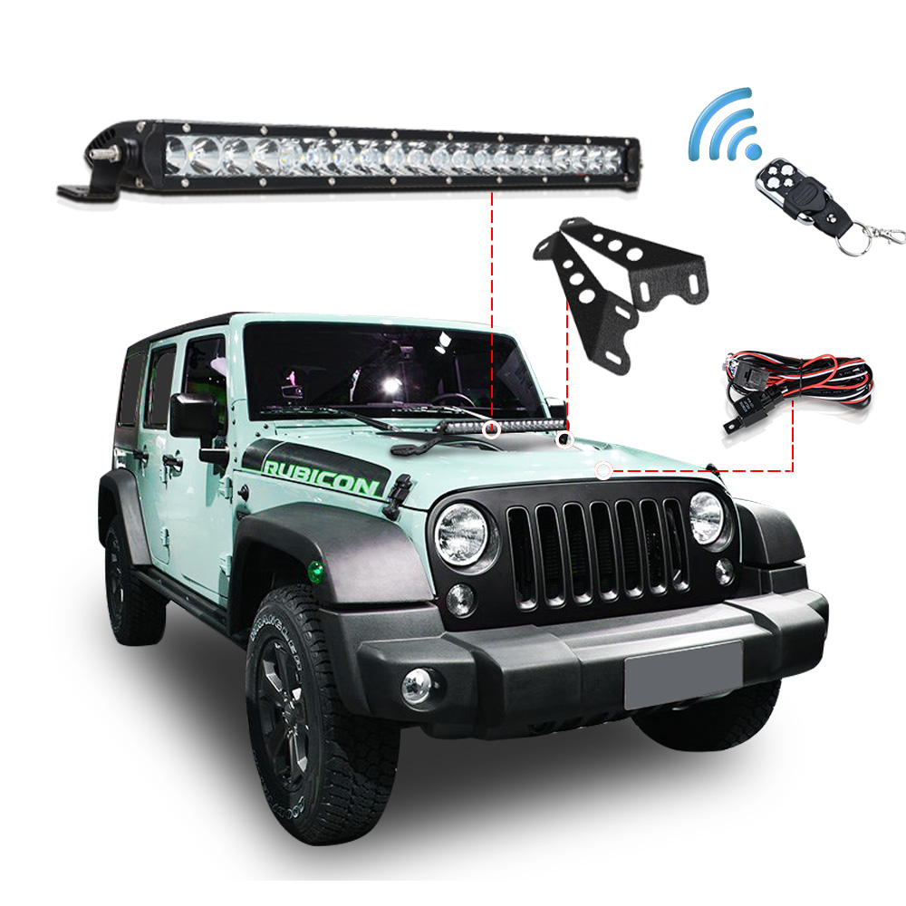 5D 120W 22inch Offroad LED Work Light Bar Combo Beam + Light Bar Mount + Remote Control Switch For JEEP Wrangler JK 07-15