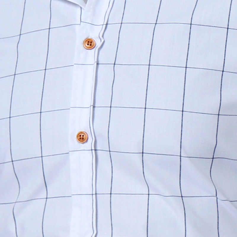 メンズチェック柄ドレスシャツ 2018 春秋の新スリムフィット長袖シャツメンズカジュアル仕事ビジネスシャツカミーサ masculina