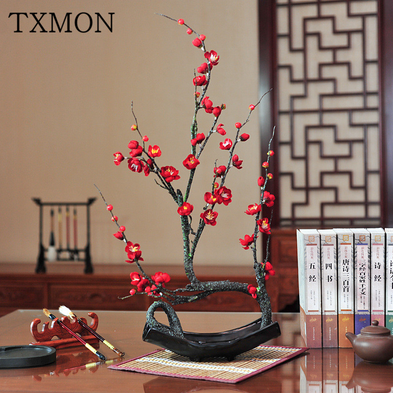 Chinese simulation flower plum flower pot landscape fake flower decoration home living room study porch floral