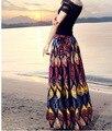 2016 algodão senhora impresso long beach saias Uma Linha-tornozelo de comprimento bohemian estilo linho saias floral impressão saias saia plissada