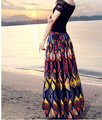 2016 lady cotton printed beach long skirts A-line ankle-length bohemian style skirts linen floral printing skirts pleated skirt