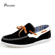 2016 PACENTO Men Shoes Suede Genuine Leather California Casual Shoes Men's Flats Driving Boat Shoes 39-44 Size European Style