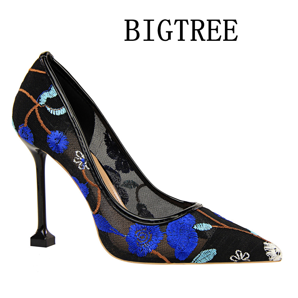 BIGTREE 2018 Shoes Woman Mesh Lace Embroider Point Toe Stiletto Super High Heels Casual Party Wedding Office Dress Pumps bigtree 2017 sexy pearl metal point toe patent leahter high heels pumps shoes woman s red sandals heels shoes wedding shoes k109