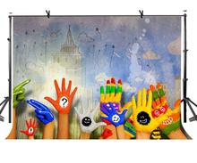 150x220cm Hand-painted Art Backdrop Cute Colorful Hand Drawn Artistic Photographic Background for Camera Photo Props