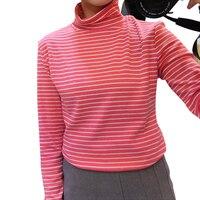 T-shirts Femme 2018 Automne Nouvelle Ulzzang Harajuku Noir Bleu Rouge Rayé Col Roulé T-shirt Pour Femmes À Manches Longues Casual Tops