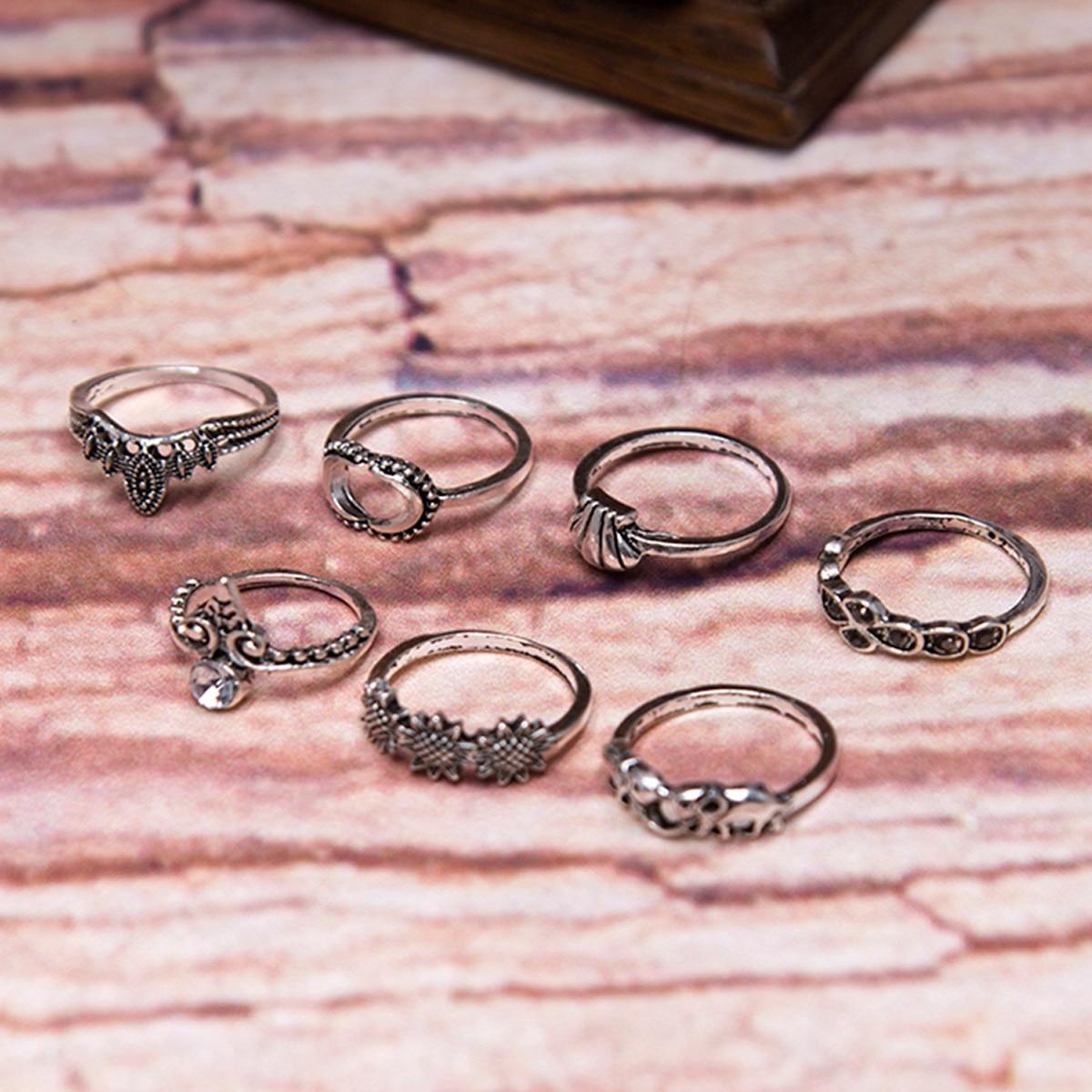 Punk Antique Silver Gold Color Carved Mid Finger Ring Vintage ...