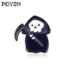 น่ารักการ์ตูน Enamel Lapel Pins Ghost Holding sickle(China)