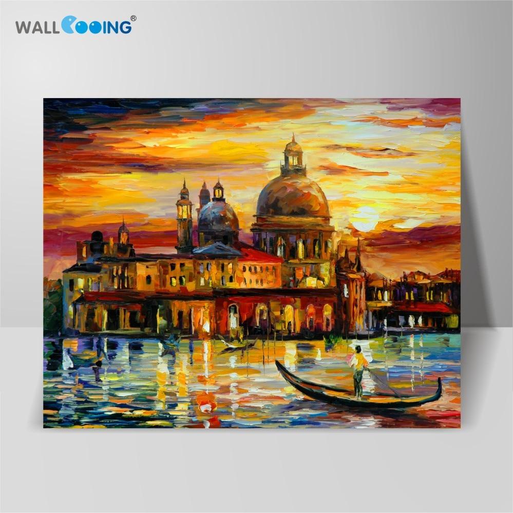 100٪ رنگ بوم نقاشی شده چشم انداز ونیز نقاشی روغن ونیز ، قلعه بزرگ نقاشی های انتزاعی پالت چاقوی دکوراسیون منزل خانه