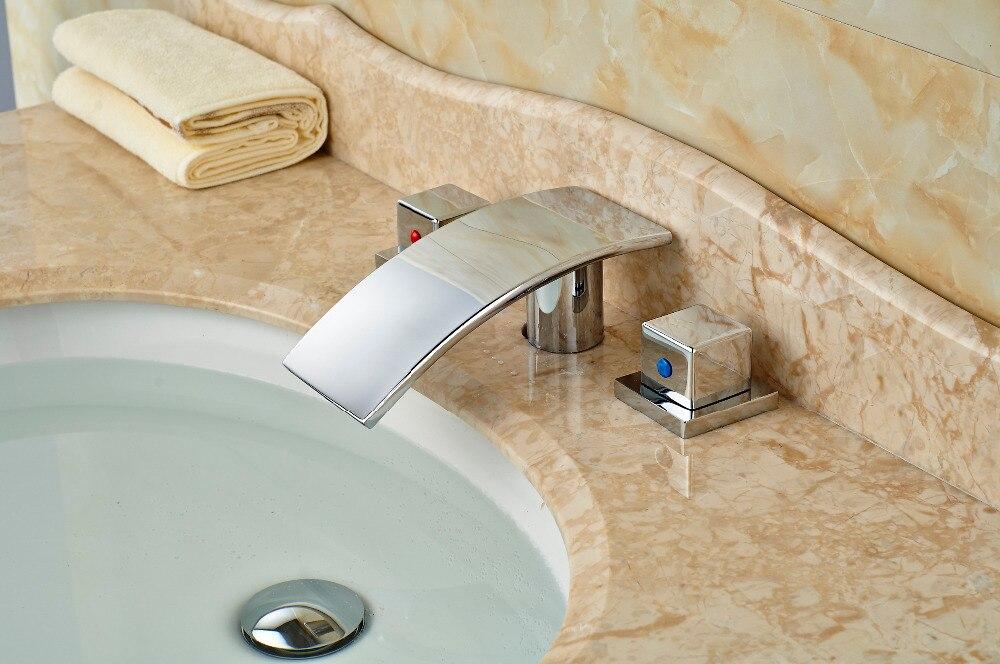 Widespread Chrome Brass Bathroom Faucet Waterfall Vanity Sink Mixer Tap 2 Handle декор lord vanity quinta mirabilia grigio 20x56