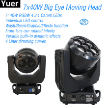 2Pcs/Lot 7x40W Big Eye LED Spot Wash Beam Moving Head Light RGBW DJ Disco Party Lights DMX512 Stage Lighting LED Moving Head 6pcs lot newest adj light 9 heads led spider moving head beam light usa full color cree led moving head disco dj effect lighting