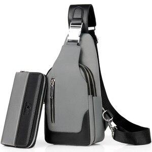 Image 2 - Brand Chest Pack Men Casual Shoulder Crossbody Bag USB Charging Chest Bag Waterproof Oxford Travel Sling Bag Messenger Bag Male