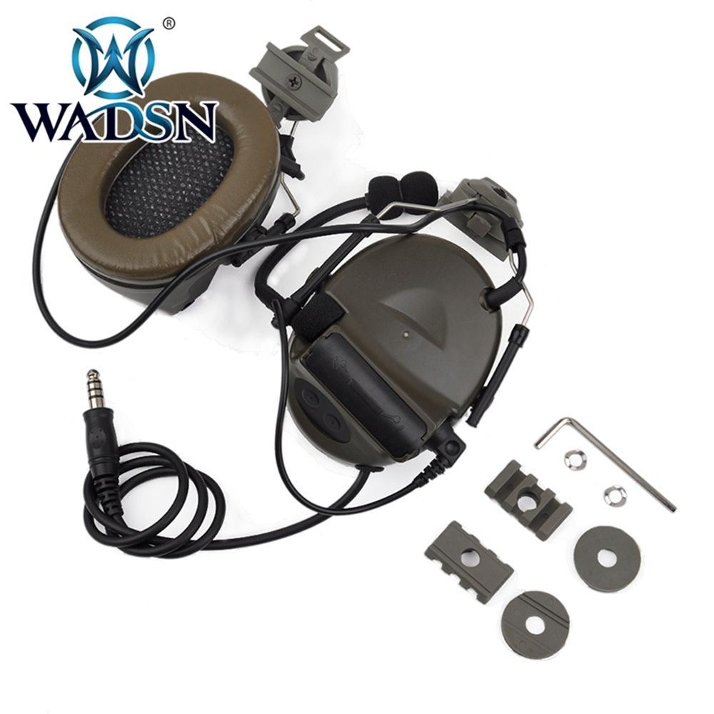 Image 5 - WADSN Comtac II Headset With Peltor Helmet Rail Adapter Set For FAST Helmets Military Airsoft Tactical C2 Headphone WZ031-in Tactical Headsets & Accessories from Sports & Entertainment