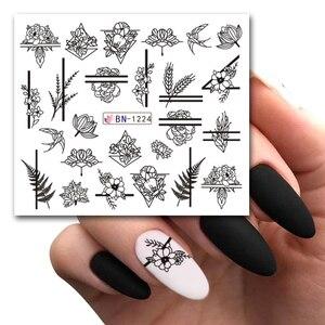 Image 2 - 12 Designs Nail Art Slider Black Lace Flower Full Wrap Sticker Water Transfer Decal Decor Polish Manicure Tattoo LABN1213 1224 2