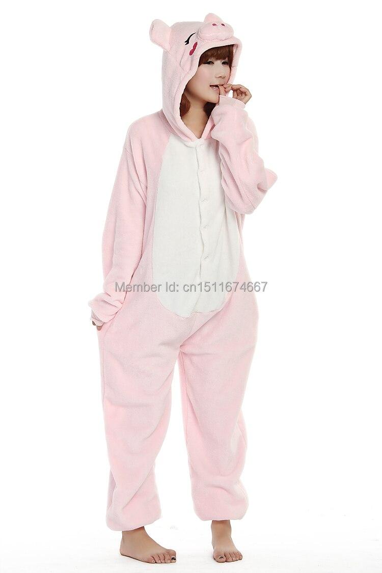 Dikke zachte flanel anime kostuum roze varken onesie pyjama halloween - Carnavalskostuums - Foto 2