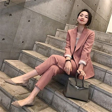 Women Sets Pant Suits OL Two Piece Sets Casual Solid Notched Collar Solid Blazer