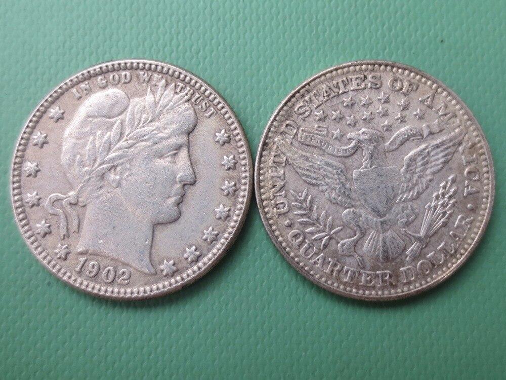 90% серебра или посеребренные США монеты 1902 Barber КВАРТАЛА ДОЛЛАРОВ Розничная/оптовая продажа США Копировать монеты