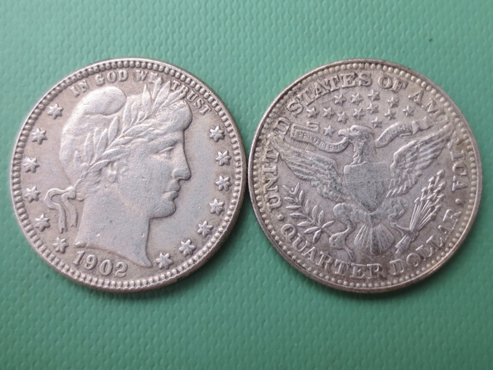 90% silver or silver plated U.S. Coins 1902 Barber Quarter Dollars Retail / Whole Sale USA Copy Coins