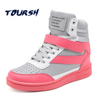 TOURSH High Top Sneakers Boots Women Ankle Boots For Women Autumn Spring Krasovki Women Deportivas Mujer Zapatillas Running Pink