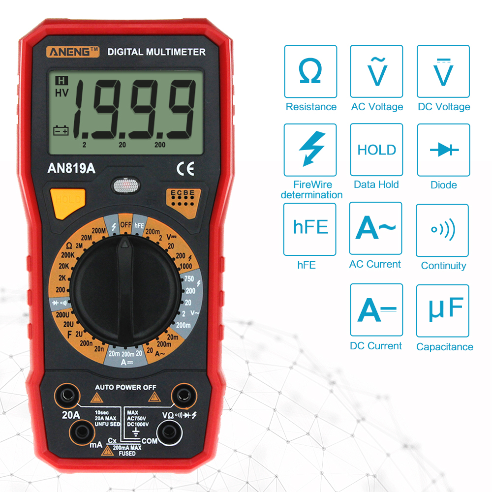 AN819A Digital Multimeter 1999 Counts Backlight LCD Portable Multimeter Voltmeter Ammeter AC DC Ammeter Auto Meter Tester