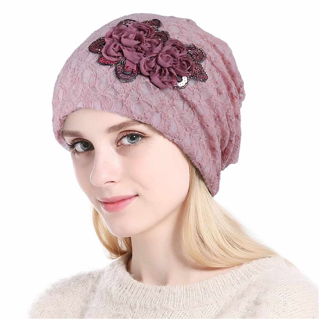 Women Soild India Lace Stretch Turban Hat Applique Hair Loss Head Scarf Wrap Lady Head Wrap Chemo Turban Hair Accessories NEW