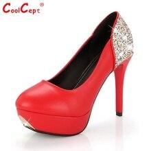 ผู้หญิงรองเท้าส้นสูงผู้หญิงรอบแพลตฟอร์มส้นเท้าปั๊มเซ็กซี่เลื่อมพรรคแต่งงานส้นFootwrearรองเท้าขนาด34-39 Z00298