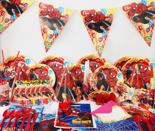78 Pcs Luxe D Anniversaire D Enfants Decoration Party Set Spider Man