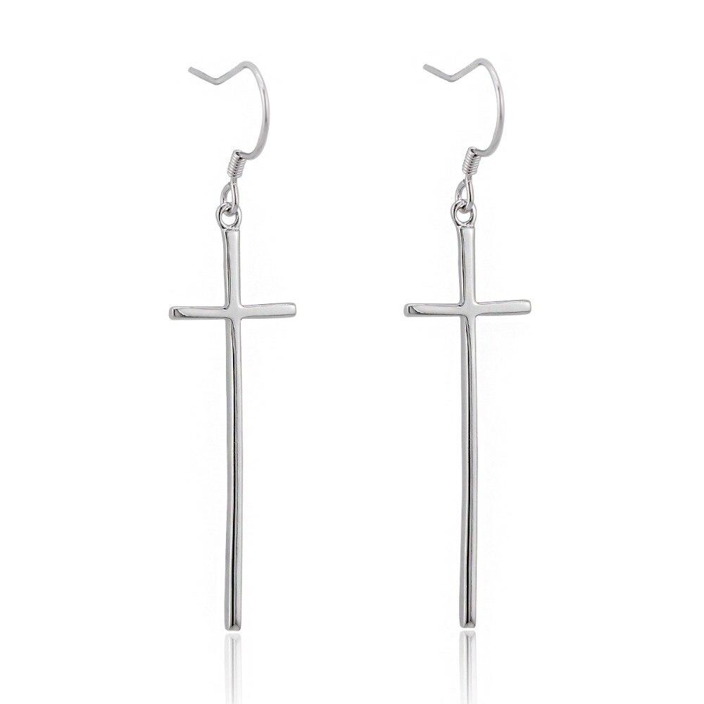 Real 925 Sterling Silver Long Cross Drop Dangle Hook Earrings For Women  Girls Jewelry Gift Pendientes