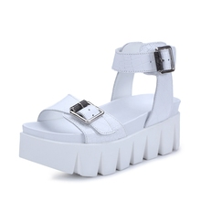 Sawtooth Thick Crust Muffin Open toed Belt Buckle Black White Cowhide Comfortable Women Slope Heels Sandals
