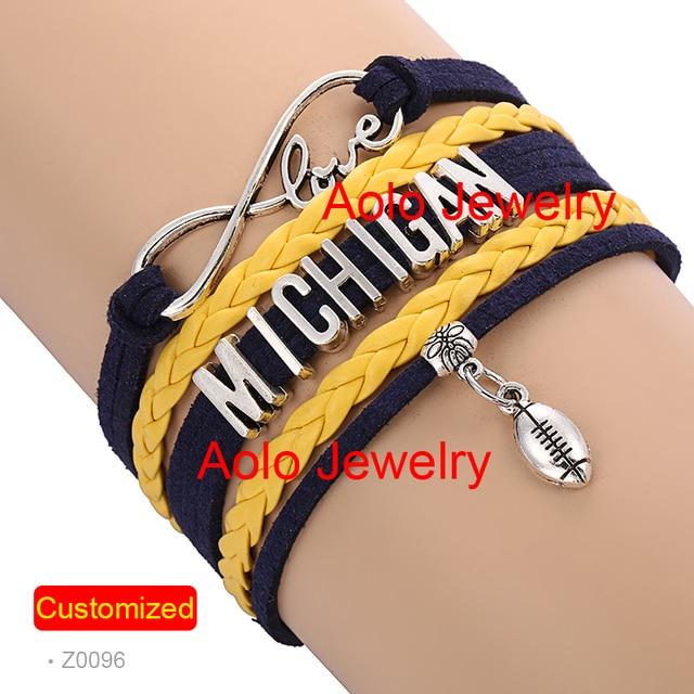 6pcs Lot Michigan Football Infinity Bracelet Navy Yellow Make Your Own Design Free Shipping