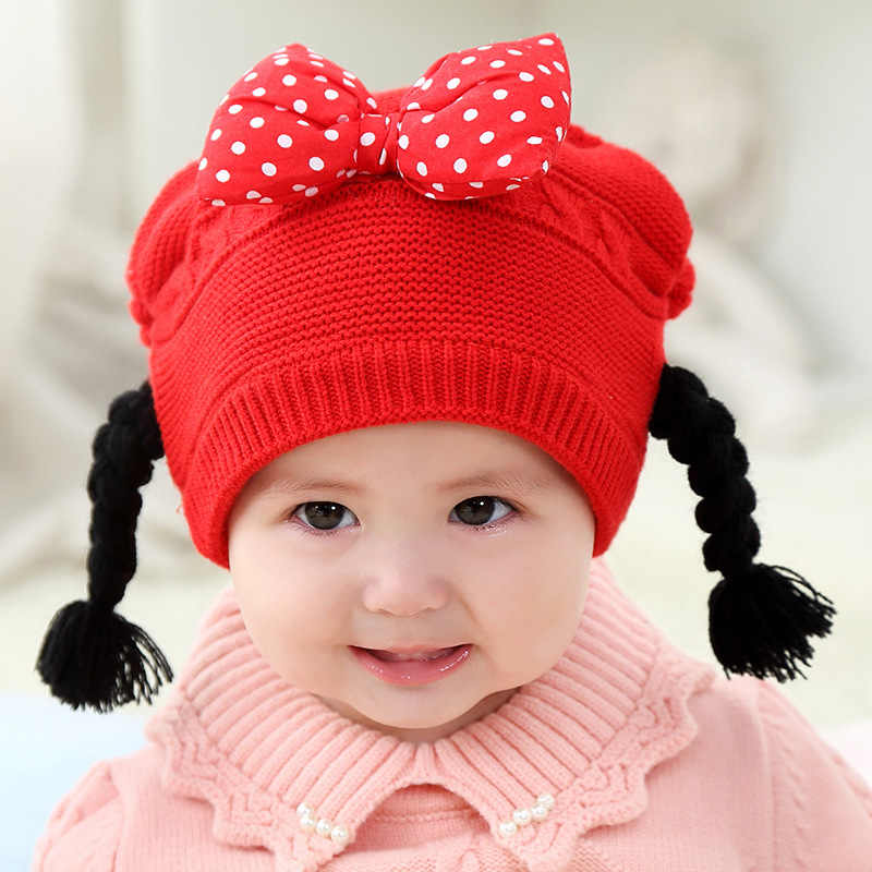 6bf7c6b6 Baby Bow Winter Hat with Wig Pigtail For Girls Kids Warm Knitted Hat  Newborn Beanie Cap