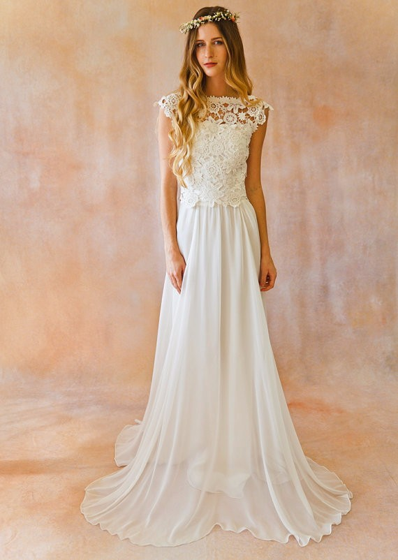 2017 New Elegant A line Bateau Cap Sleeve vestido de noiva Lace Wedding Dress robe de mariage Sexy Backless Boho Wedding Dresses 2