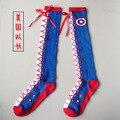 Marca Tide menina longas meias moda personalidade Capitão América bow tie lace meias meias de algodão Casuais Meias mulheres Meias Harajuku