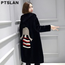 Ptslan Women Sheep Fur Coat Fashion Women Wool Coat Long Sheep fur Beautiful Women s Coat