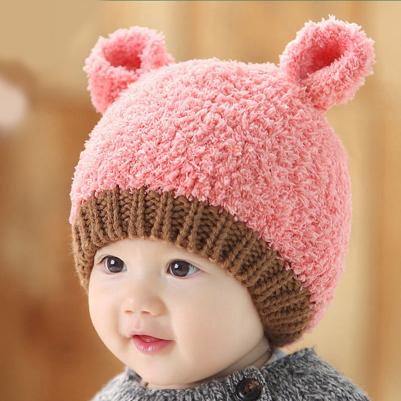 2016 Fashion Round Ears Baby Girls And Boys Kids Children Dual Ball Knit  Sweater Cap Hats Cute Winter Warm Knitted 1pcs 14-135 aedda0058bf