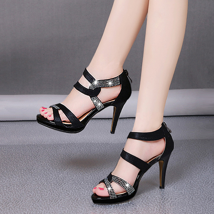 Summer thin high heels platform peep toe pumps with rhinestones cross strap back zippers sandals women PU leather elegant shoes