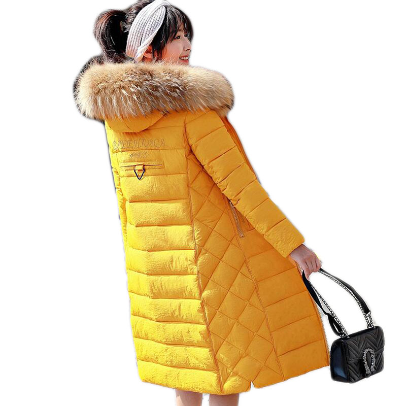 Clor A274 Le Manteau Bas rice Grand yellow color Collar Dousha Femmes Épaissie D'hiver Black Fourrure Yellow Coton color Parka Long Vers Couture Veste black Red Slim Dames 1vZqfv