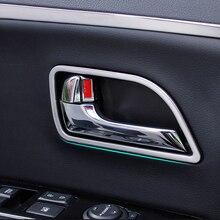 4 מסגרת פלסטיק Chrome רכב פנים לקצץ קישוט ידית דלת יח\סט לקאיה ריו K2 2011 2014, רכב אביזרי