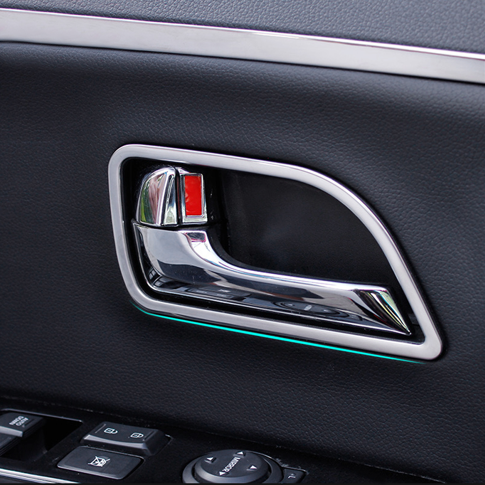 4pcs set plastic chrome car interior door handle decoration trim frame for kia rio k2 2011 2014. Black Bedroom Furniture Sets. Home Design Ideas