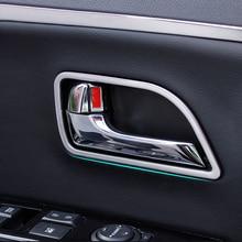 4pcs/set Plastic Chrome Car interior door handle decoration trim frame For KIA RIO K2 2011 2014,car accessories