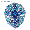 "4.9"" Big Huge Drop Rhinestone Crystal Flower Brooch Pin Broach Wedding Bride Jewelry 4045"