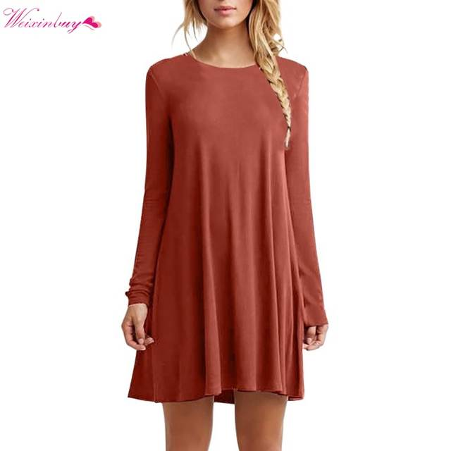 09c3e2dcc071 placeholder WEIXINBUY Fashion Autumn Winter Sexy Women Long Sleeve Casual Loose  Black Dress Pleated Mini Party Dresses