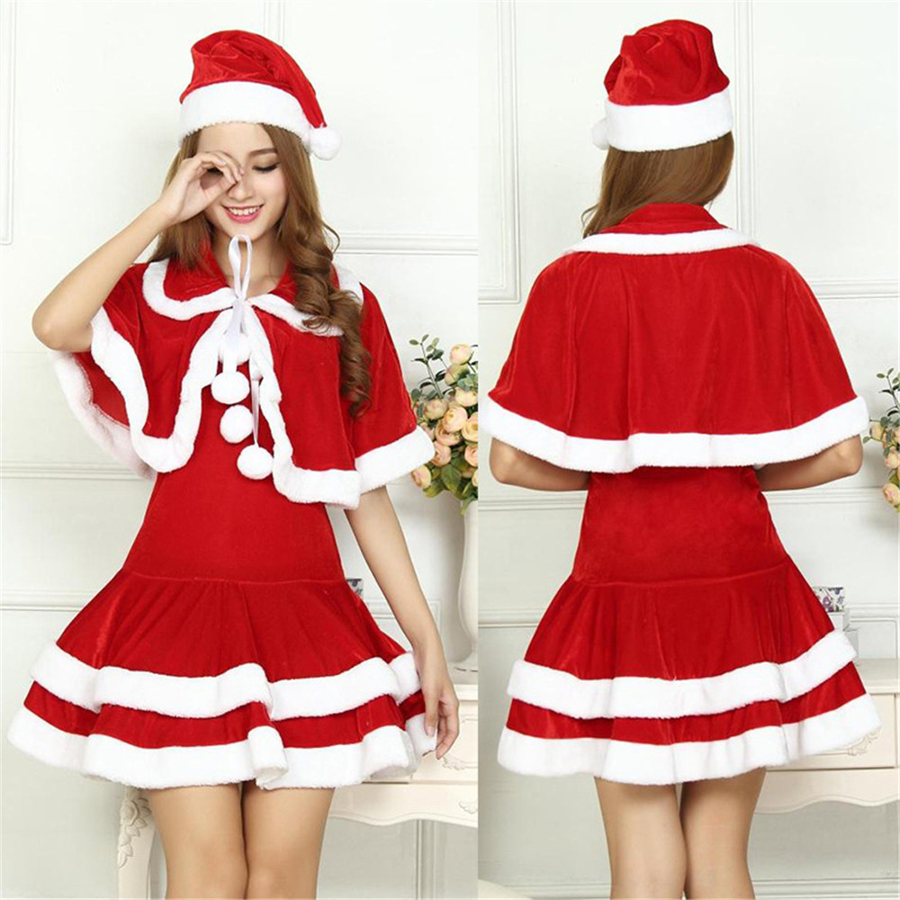 Christmas Dress Women Costume For Adult Red and white Velvet Fur Dresses Hooded Sexy Female Cosplay Santa Claus Costume