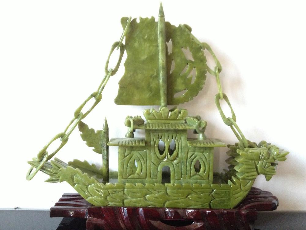 RIJETI 100% kineski prirodni žad ručno rezbareni brod za rijetke - Kućni dekor - Foto 5