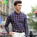 Men Shirt Long Sleeve Cotton Plaid High Quality Dress Man's Business Clothing Turn-Down Collar Social Brand Shirts MDSS1508