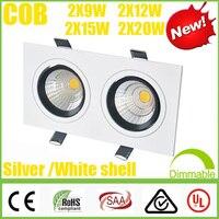 Vierkante CREE 2 * (9 W 12 W 15 W 20 W) COB LED Downlights Dimbare/Non Driver Dubbele Armatuur Verzonken Plafond Omlaag Lampen SAA UL