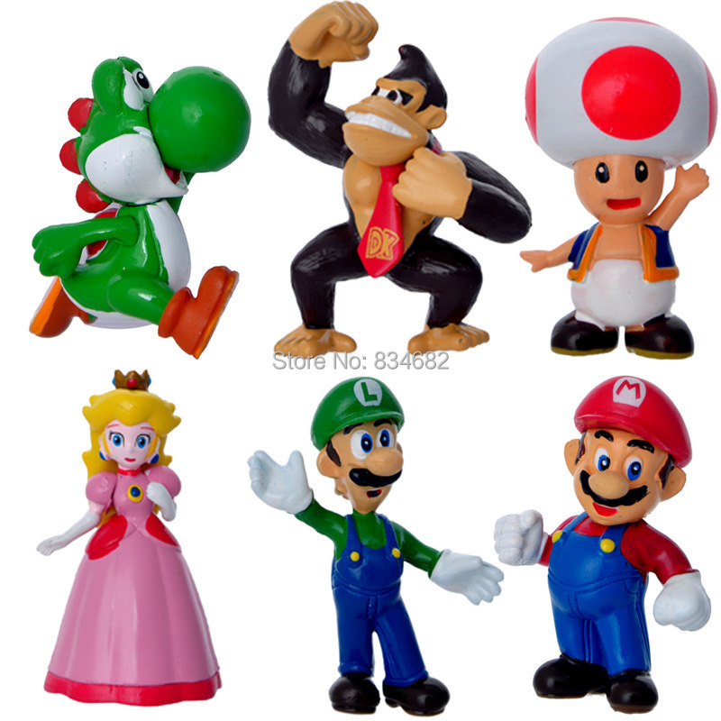 J.G Chen 6 pcs/lot Nintendo Super Mario Bros Action Figure New Free Shipping & Wholesale Kids Toys for Children Mini Size
