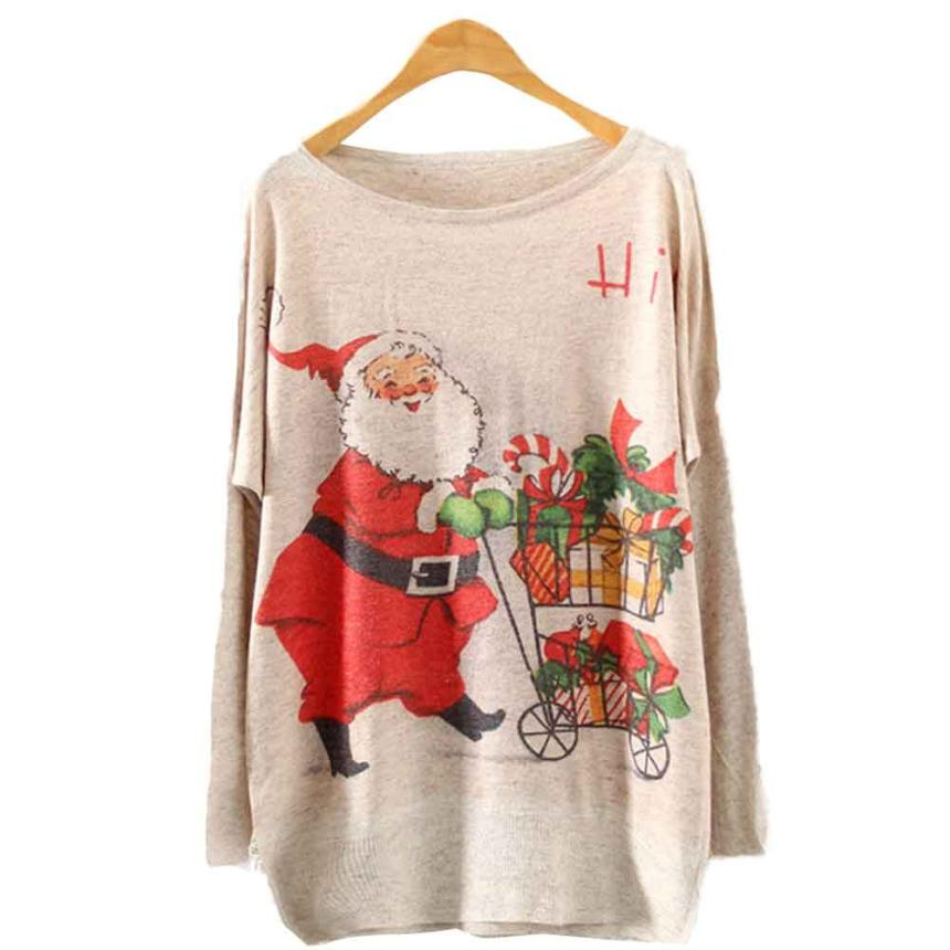 2018 Womens christmas sweater Batwing Long Sleeve Color Loose Knit Sweater Knitwear Tops women sweaters and pullovers pull femme