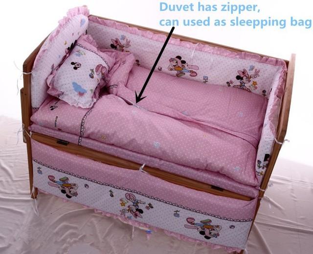 Promoção! 10 PCS Mickey Mouse bebê pedaço kit cama definir 100% algodão berço pacote de cama ( amortecedores de colchão + travesseiro )